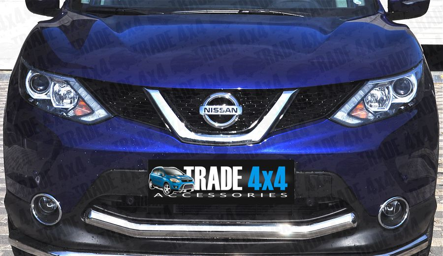 Our Nissan Qashqai 2014 Front City Bar, Bumper Protection Bars are a practical and stylish accessory for your Qashqai J11 4x4 SUV. Made from chrome look hand polished Stainless Steel. Buy online at Trade 4x4 Accessories.