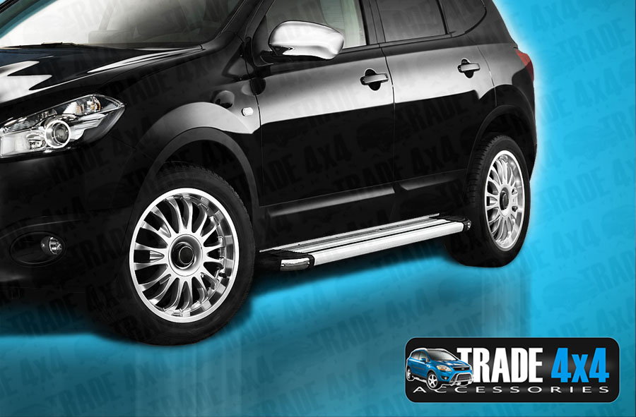 Our Nissan Qashqai Brilliant Side Steps really upgrade your Nissan Qashqai SUV 4x4. These OEM Quality anodised aluminium running boards will fit all 2010-13 Qashqai models. Buy all your 4x4 accessories online at Trade 4x4 Accessories.
