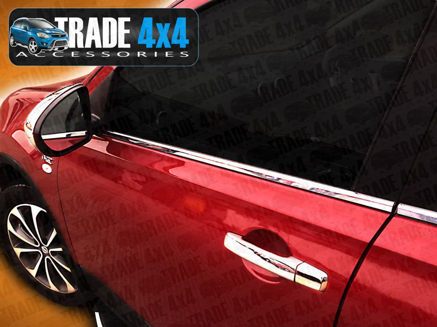 Our Nissan Qashqai stainless steel window trim covers really upgrade your Qashqai 4x4,  These stainless steel chrome look window trim covers will fit all Qashqai models from 2007 to 2013. Buy all your 4x4 accessories online at Trade Van Accessories