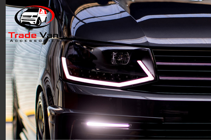VW T6 LED DRL HEADLIGHTS SMOKED BLACK