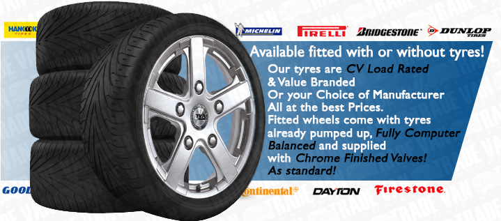 Available fitted with or without tyres! Tyres come Load Rated & Branded 235 / 50 - 18 Or your Choice of Manufacturer. All at the best Prices. We'll even pump them up to your specification...High PSI for Sport Grip or Lower PSI for Comfort.