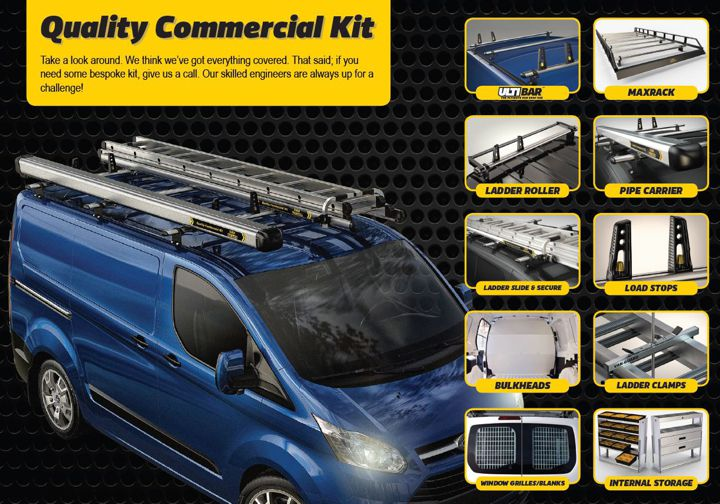 Ulti Bar Van Roof Bars by Van Guard made in the UK. Optional Extras, please call for details. Buy online at Trade Van Accessories.