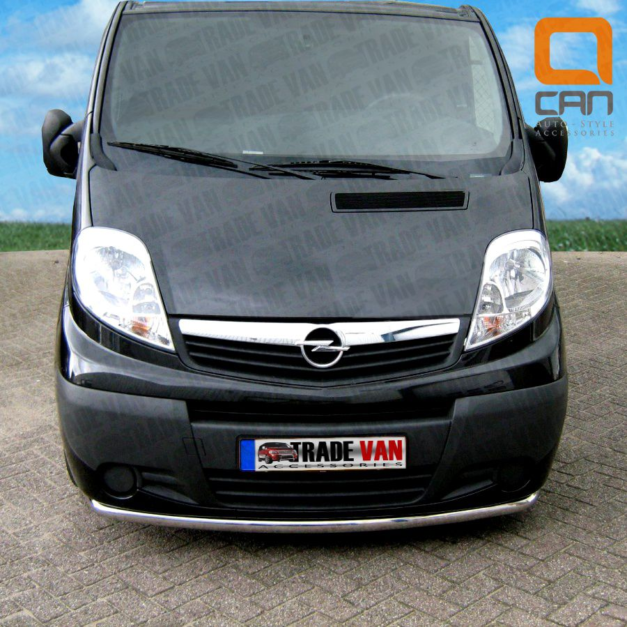 Our Vauxhall Vivaro Front City Bar, nudge bar, front bar, really upgrades your trafic van, The hand polished stainless steel 60mm bar will fit all models including chassis cab, & combi. Buy all your van accessories online at Trade Van Accessories
