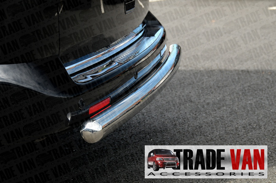 Our VW Caddy Rear Bar, Bumper Protector Bars are a practical and stylish accessory for your Volkswagen Caddy Van or MPV. Made from chrome look hand polished Stainless Steel. Buy online at Trade Van Accessories.
