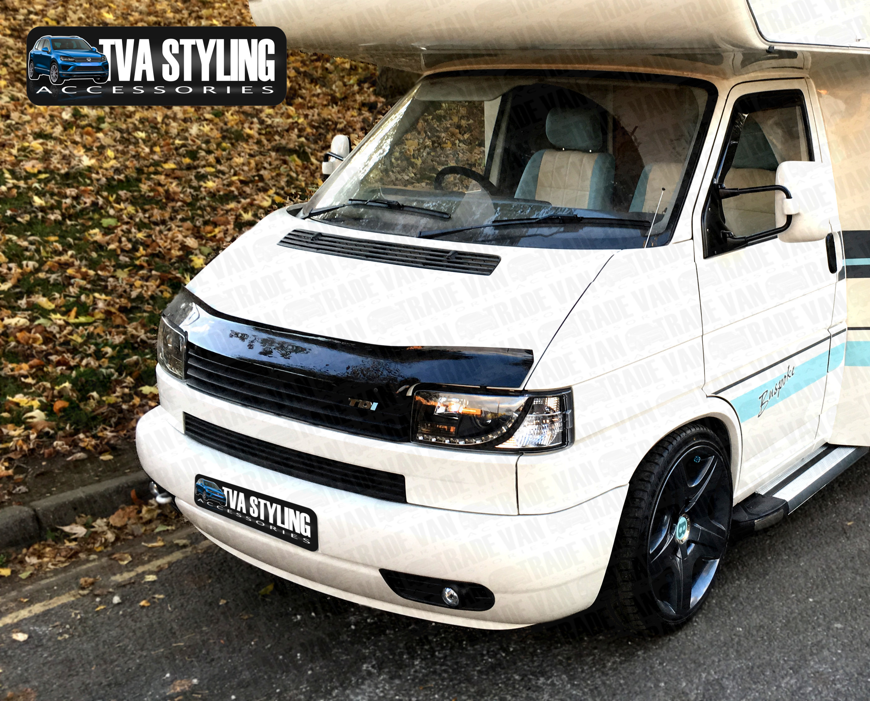 vw t4 bonnet hood guard volkswagen t4 front styling accessories trade van and tva styling. Black Bedroom Furniture Sets. Home Design Ideas