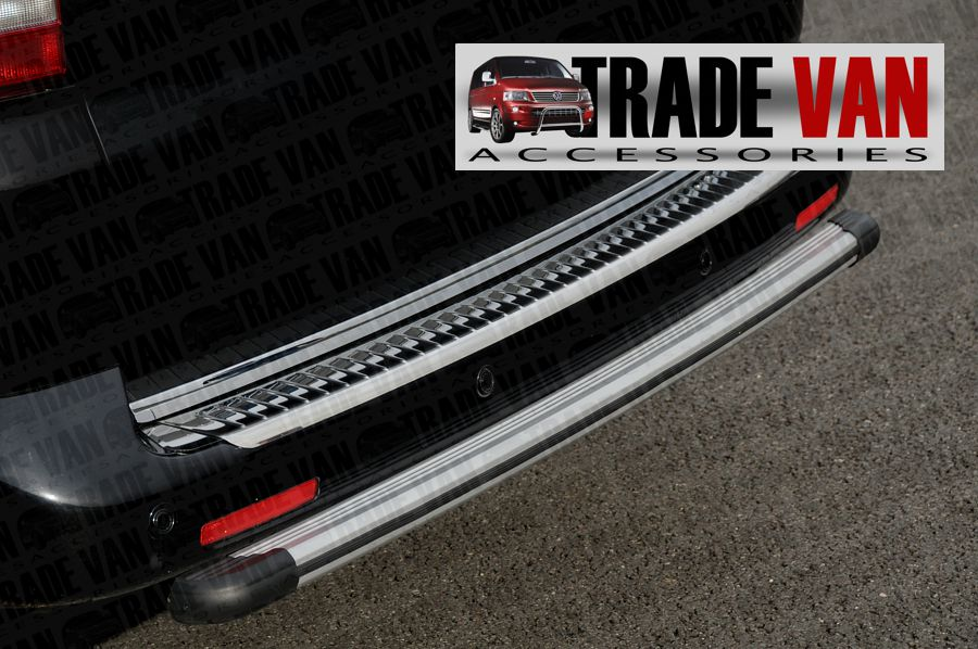Our VW T5 Transporter Rear Bar, Bumper Protector Bars are a practical and stylish accessory for your Volkswagen T5 Transporter Van or Caravelle. Made from OEM quality anodised aluminium. Buy online at Trade Van Accessories.