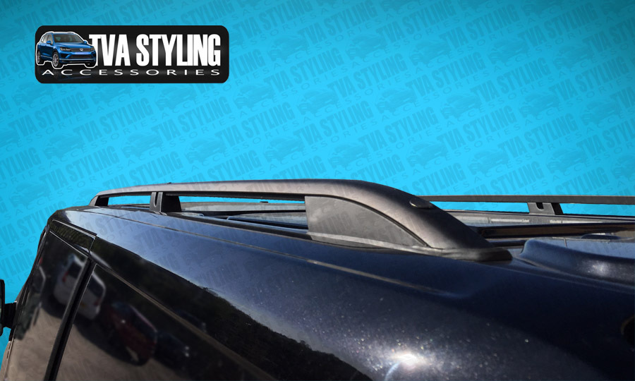 Our TX3 Black Sahara Roof Rails for LWB VW T6 are a stylish and practical addition for your Van. Buy online at TVA Styling.