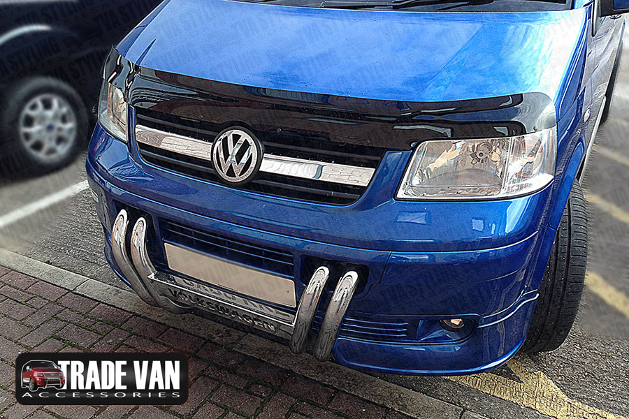 Our dark tinted VW Transporter T5 2010-on bug shield bonnet guard really enhances the front styling of your Transporter T5 4x4. Beautifully formed using superior Smoked tinted Acrylic. Buy online at Trade 4x4 Accessories.