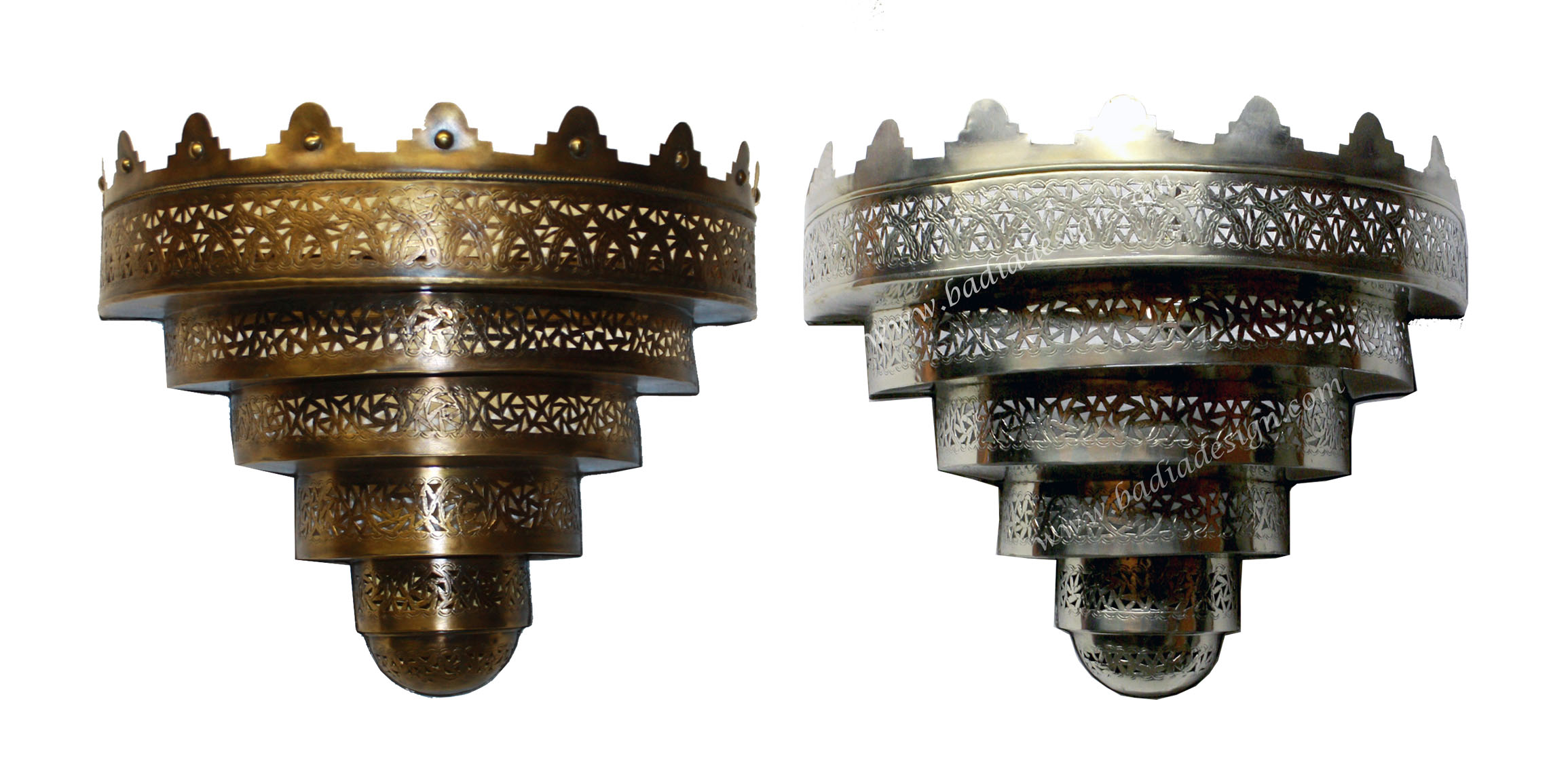 Moroccan Brass and Silver Wall Sconce