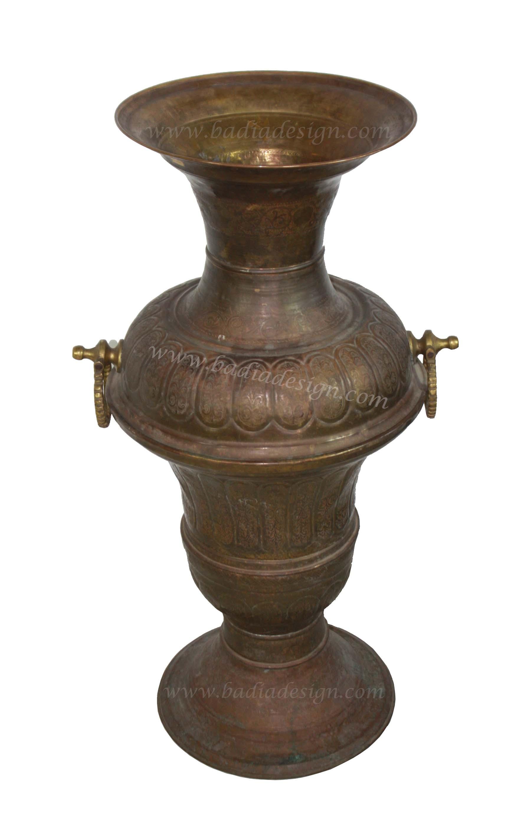 Embossed Moroccan Brass Urn