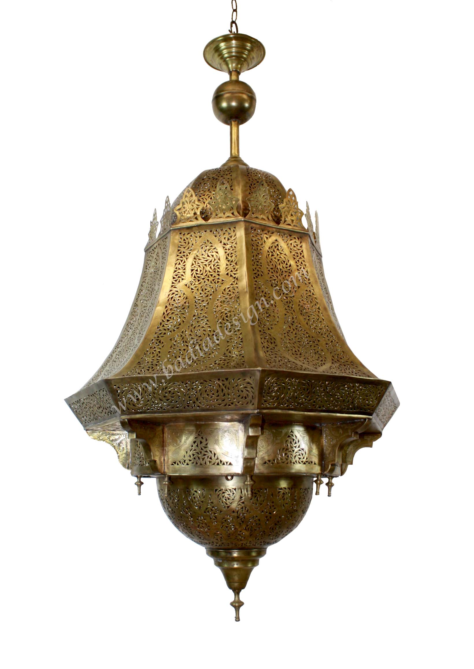Large Moroccan Brass Chandelier