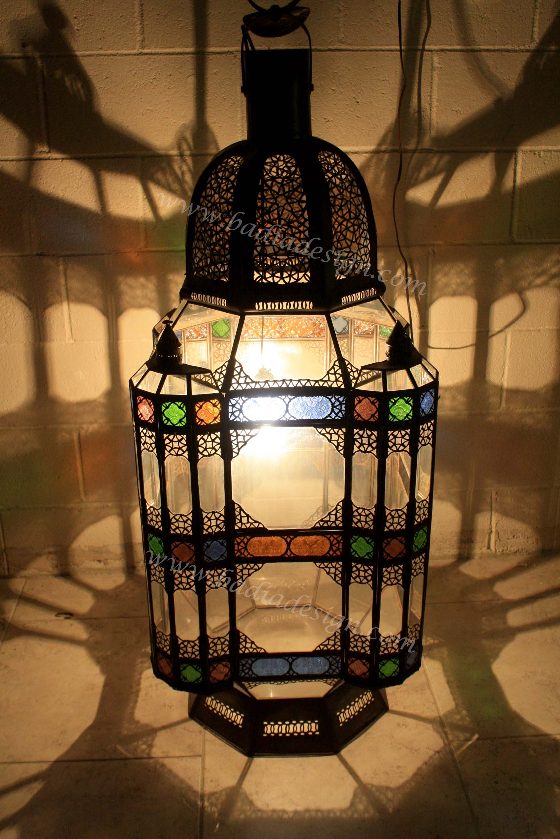 Large Moroccan Floor Lamp with Multicolor Glass