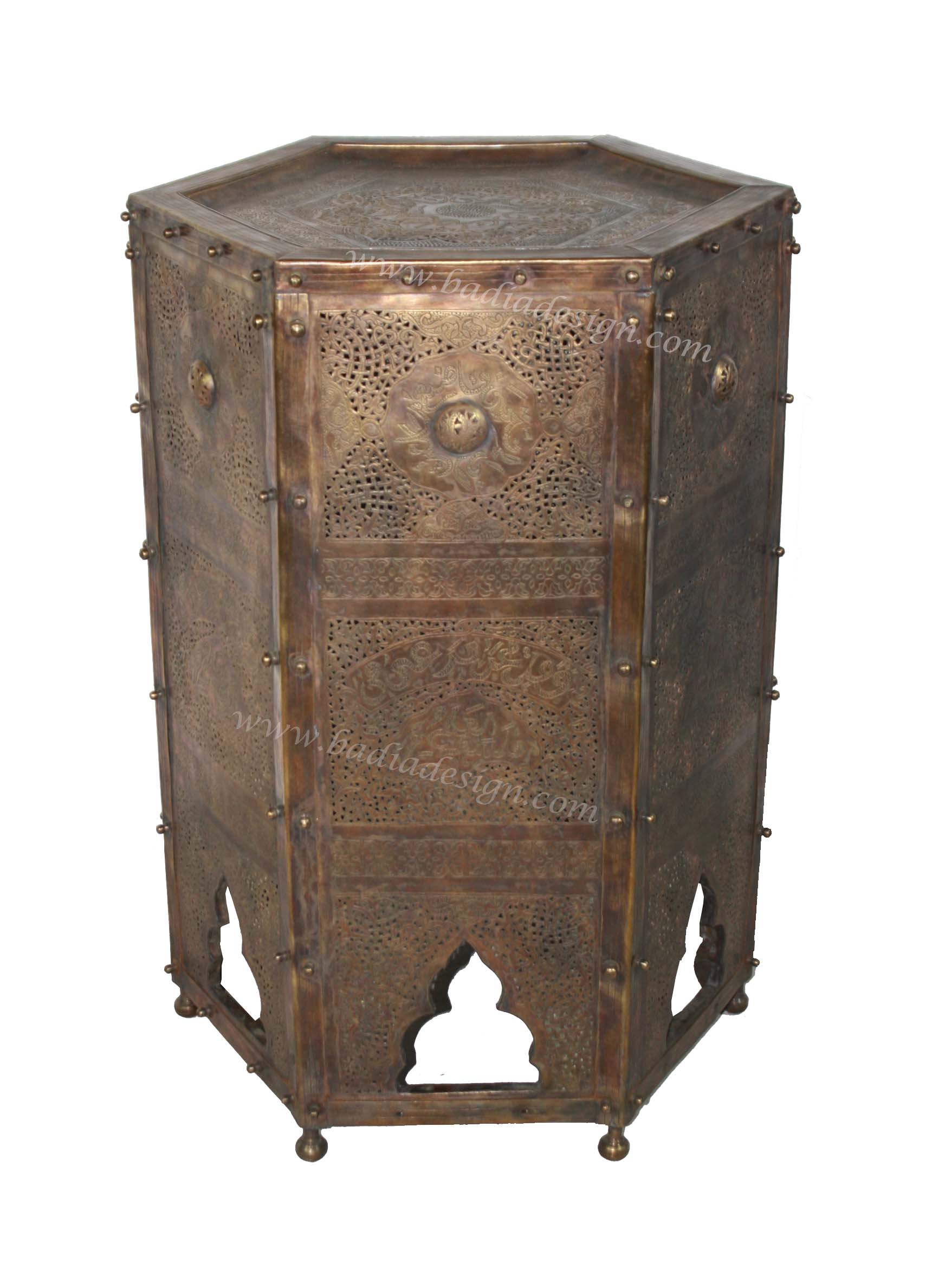 Moroccan Hand Punched Brass Side Table