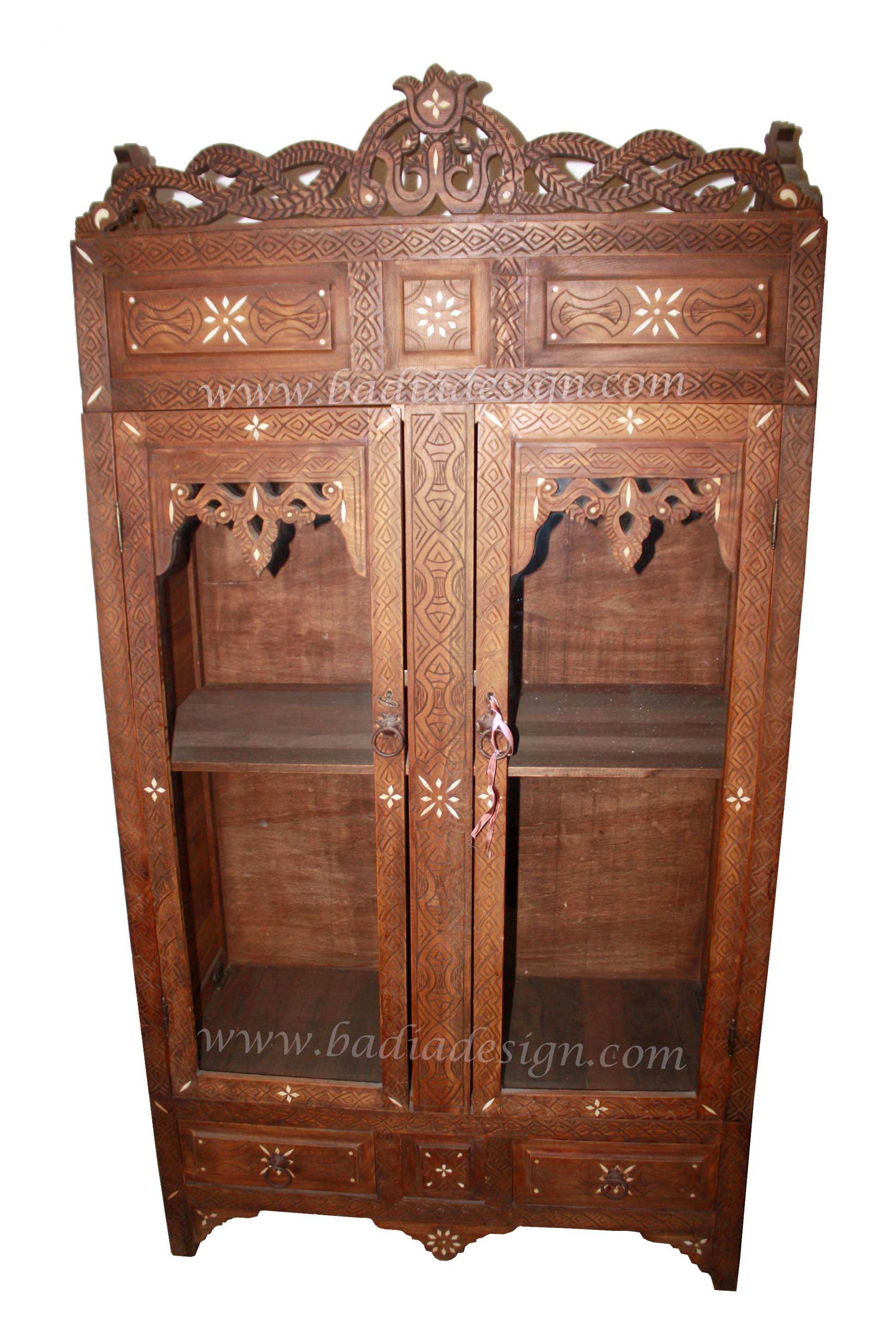 Moroccan Carved Wood Bone Inlay Armoire