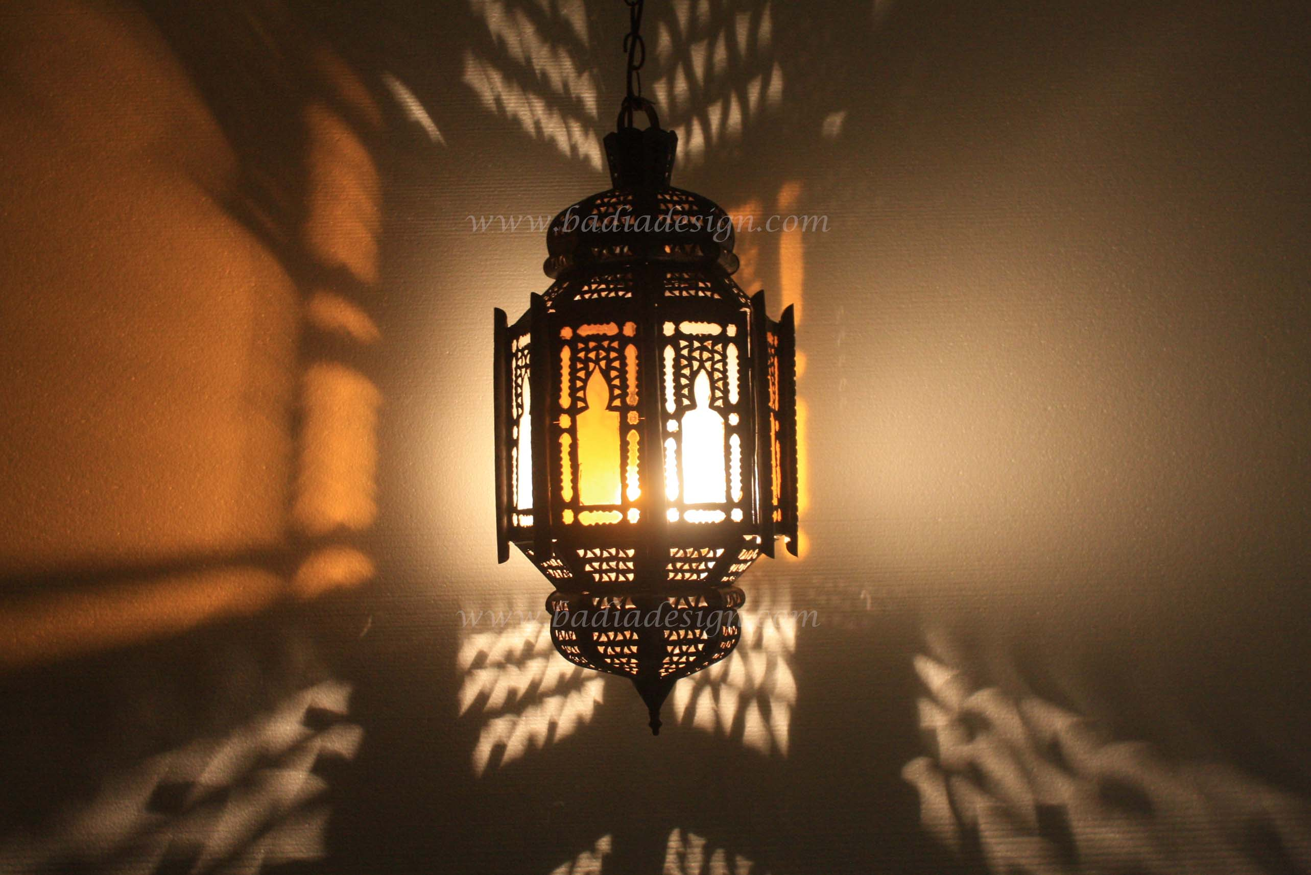Moroccan Hanging Lantern With Multicolor Glass From Badia