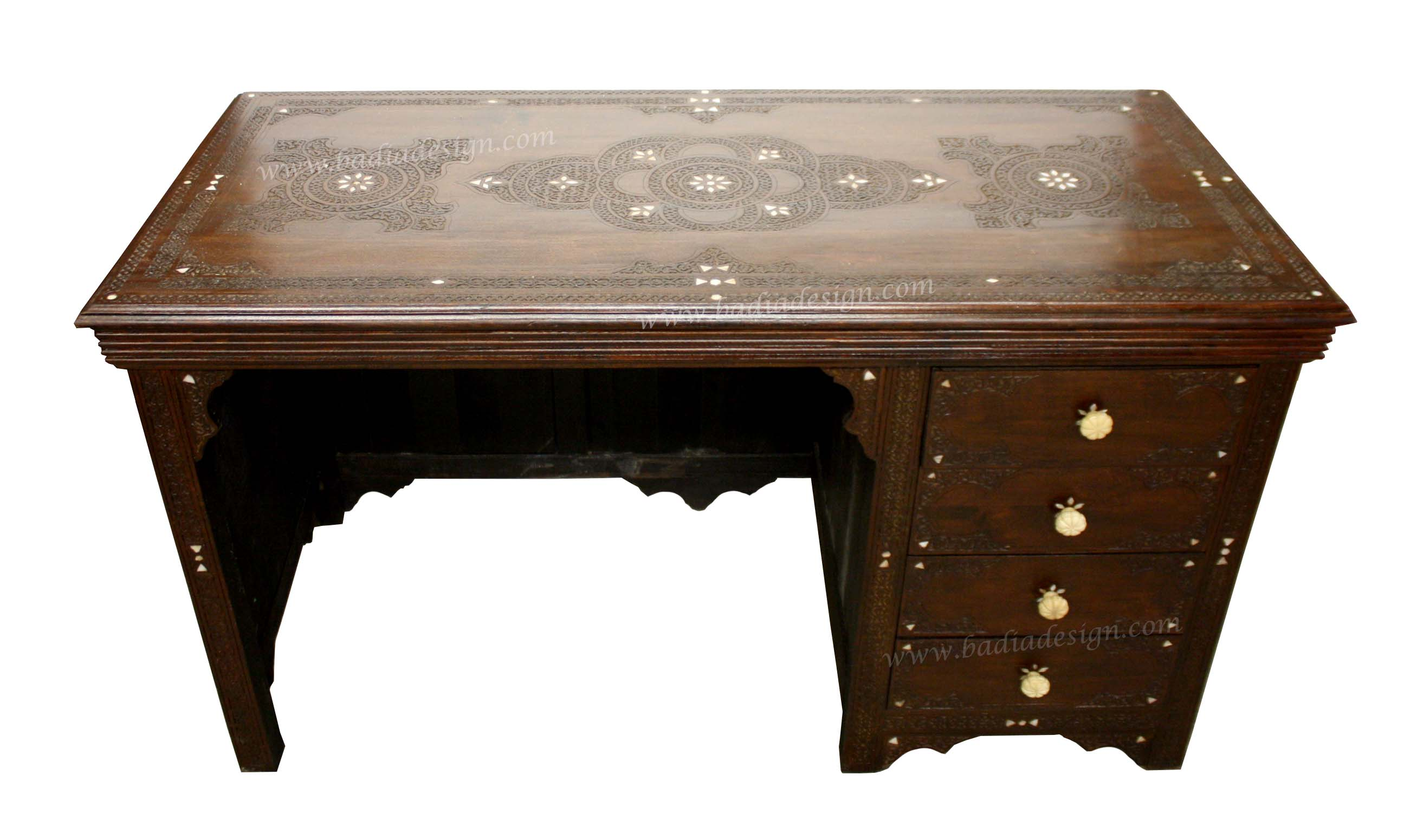 Moroccan Hand Carved Wooden Inlay Desk
