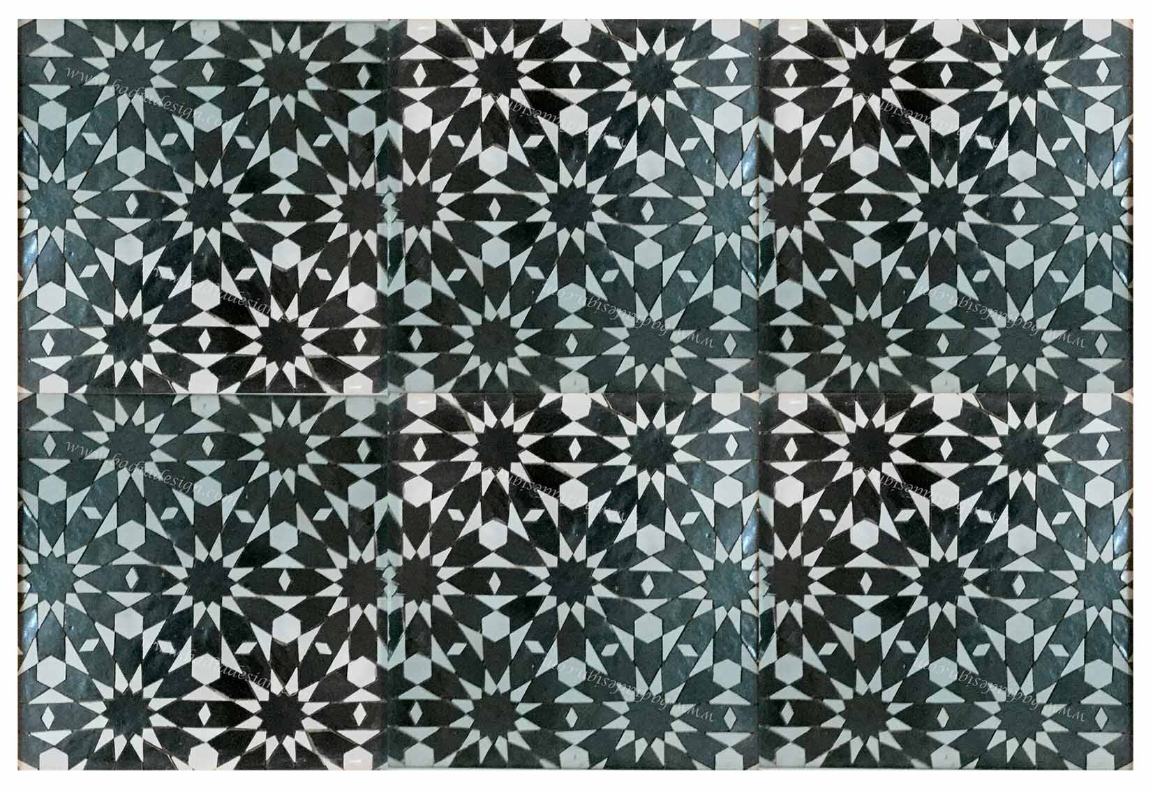 Moroccan Mosaic Hand  Painted Tile