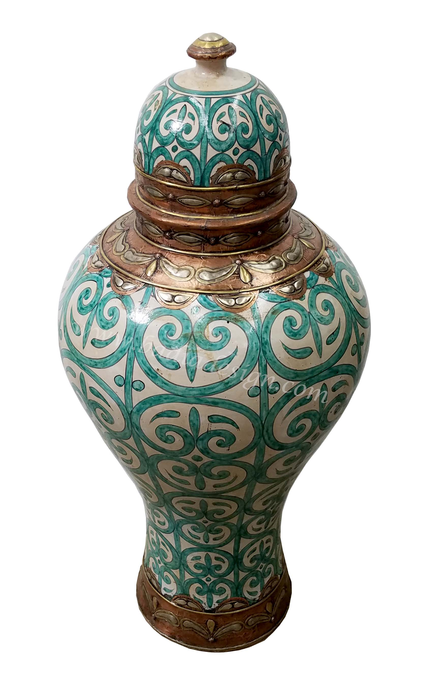 Green Moroccan Hand Painted Urn
