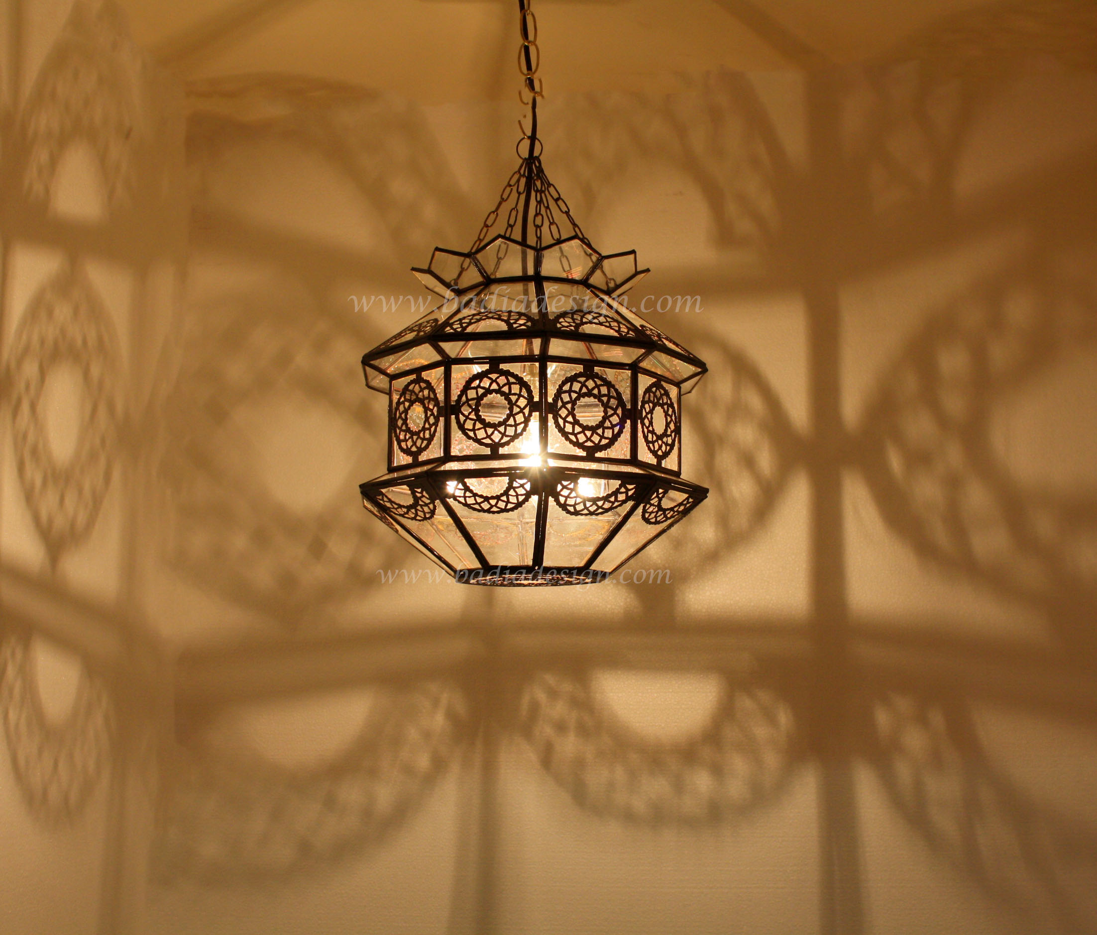 Lamps Colorado Springs: Moroccan Hanging Lantern With Clear And White Glass From