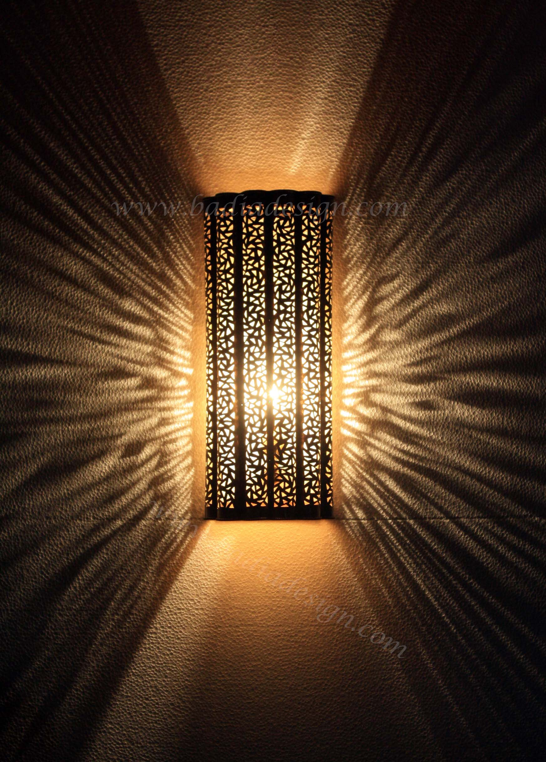 Intricately Designed Moroccan Brass Wall Sconce From Badia