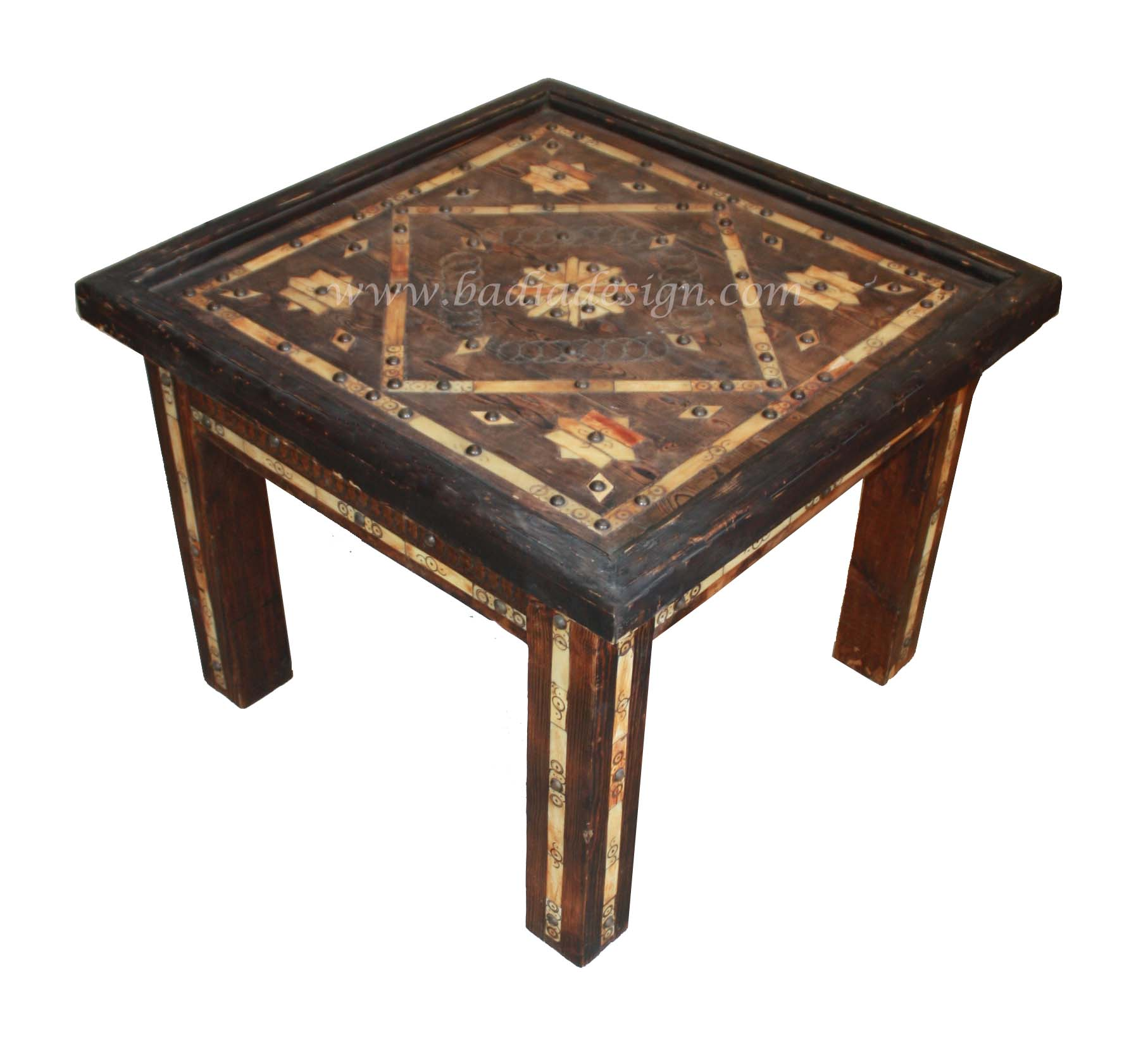 Moroccan Metal and Bone Coffee Table