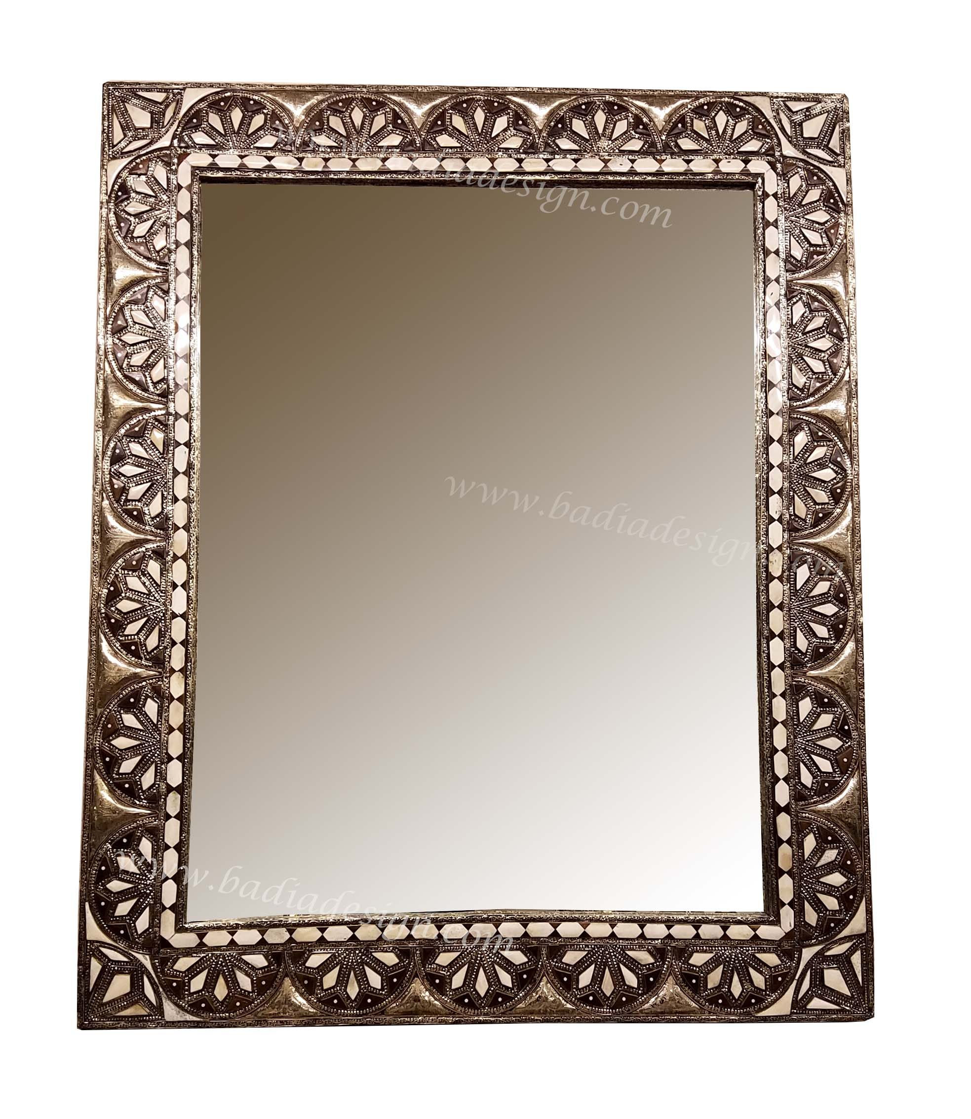 Moroccan Metal and Bone Mirror