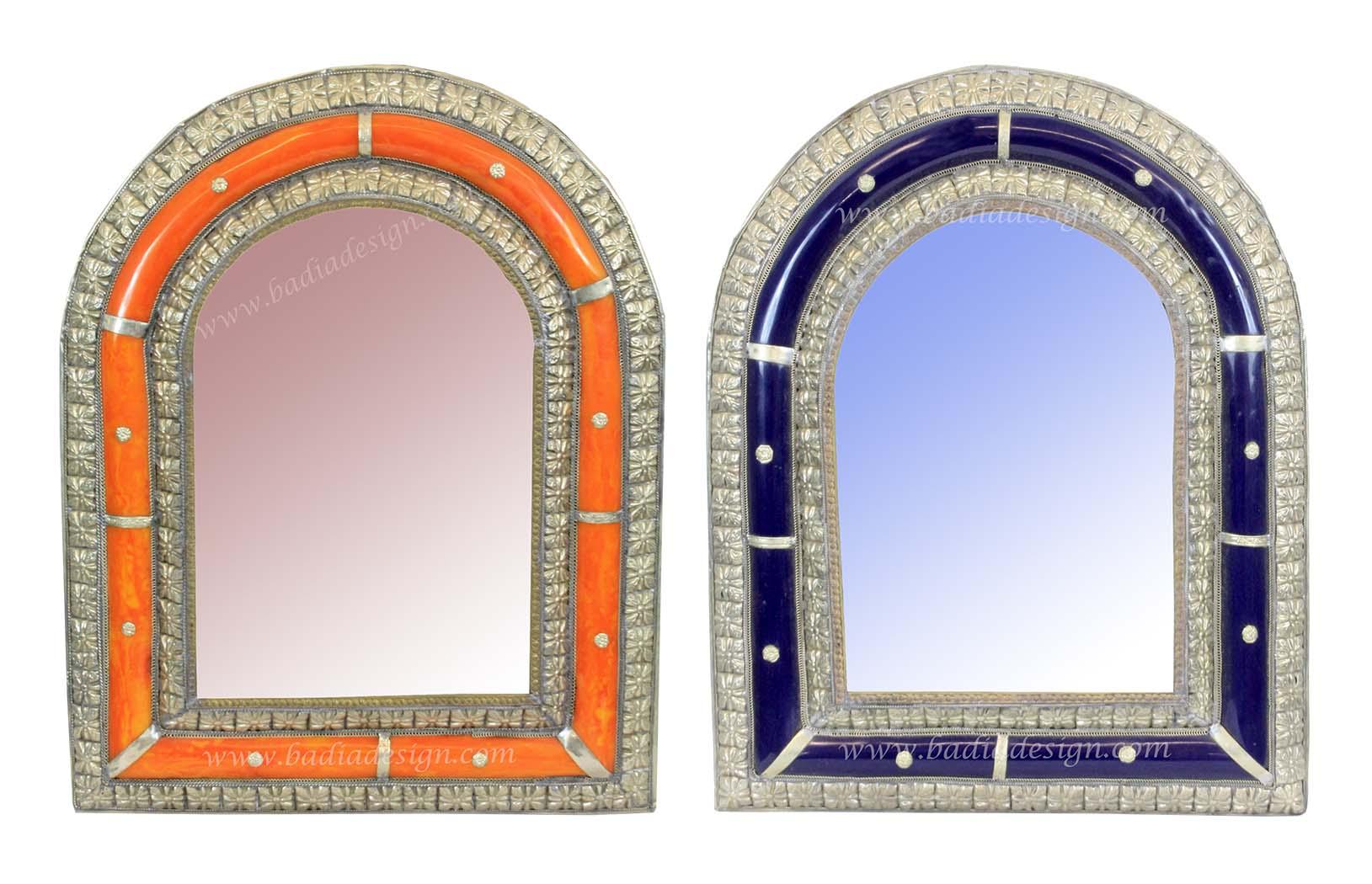 Moroccan Metal and Bone Mirror