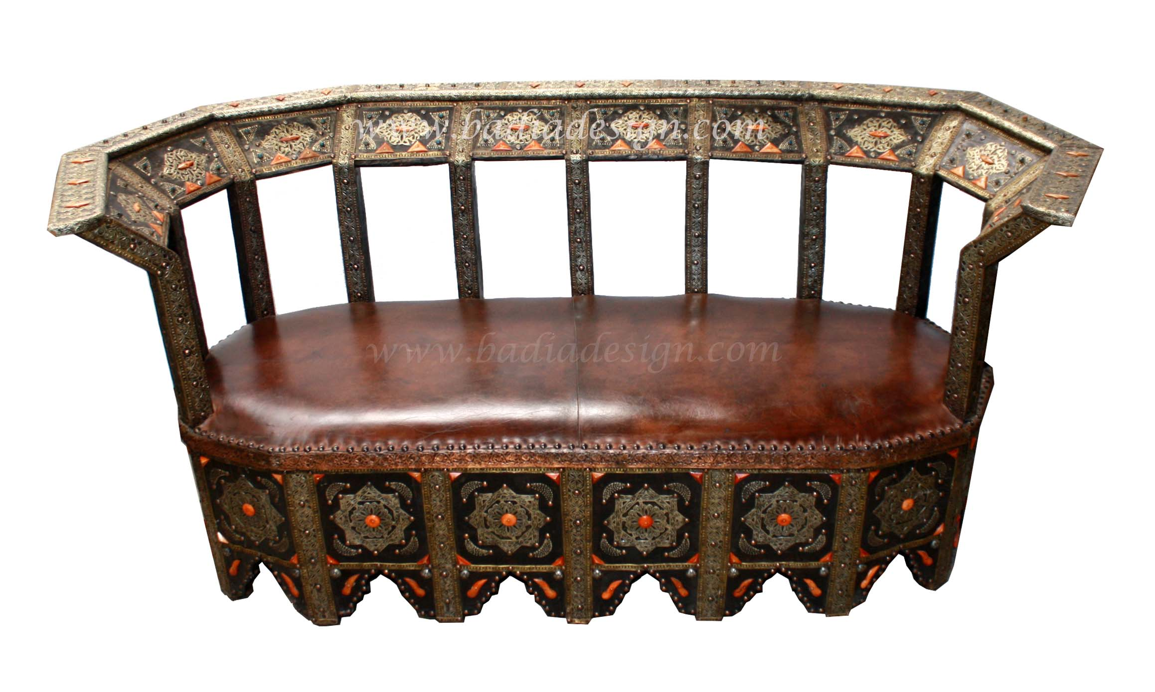 Moroccan Metal and Orange Bone Bench with Leather Seating