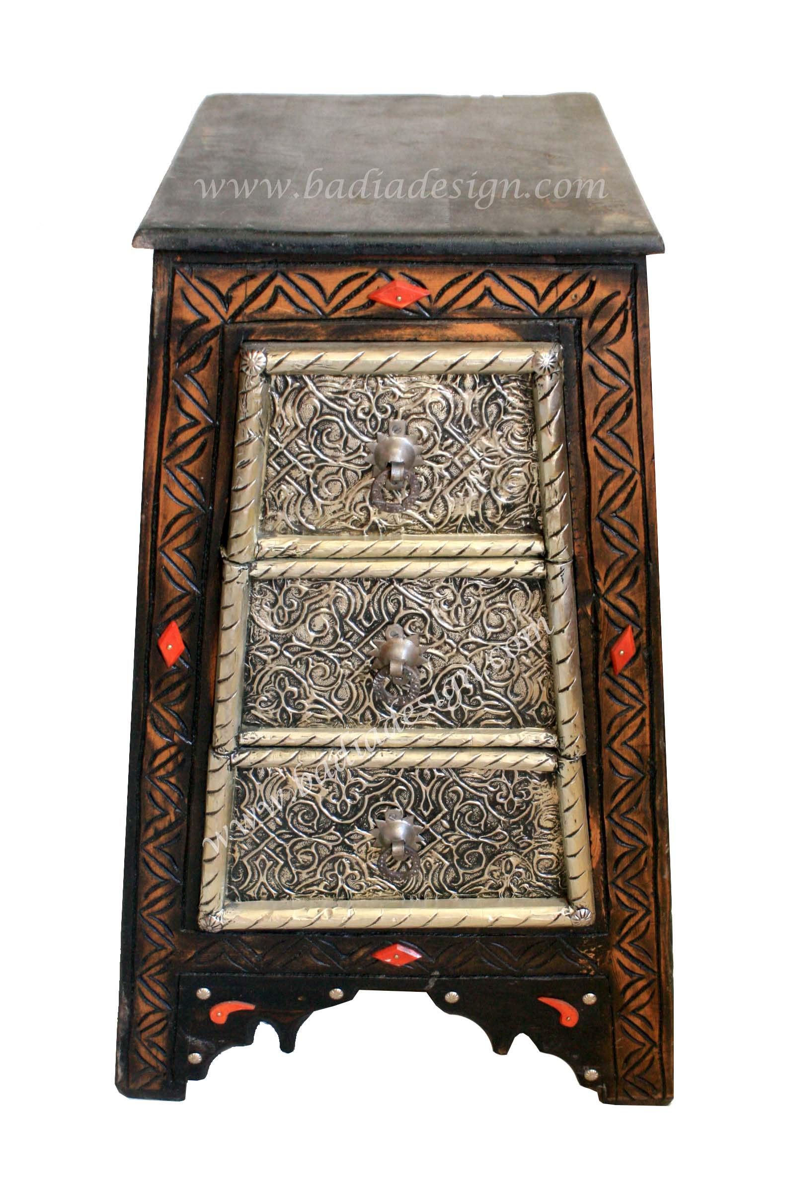 Moroccan Pyramid Shaped Metal and Bone Cabinet