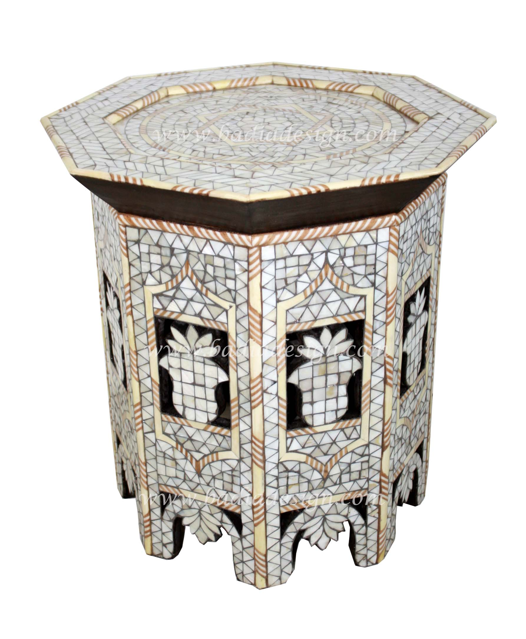 Moroccan White Mother of Pearl Side Table