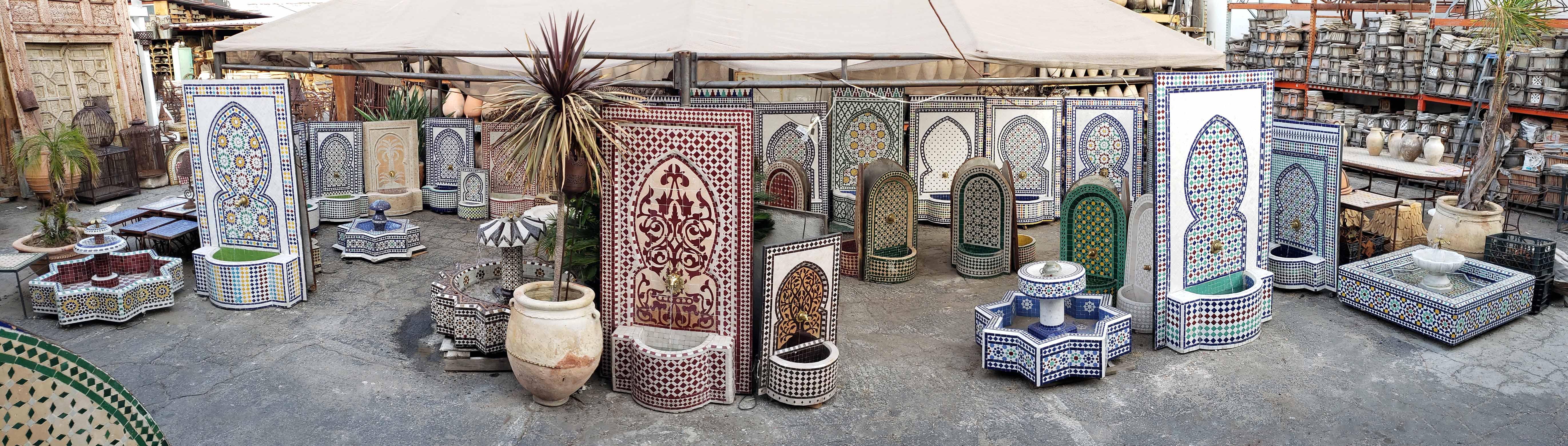 Outdoor Moroccan Tile Water Fountain Ideas Badia Design
