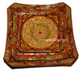 Hand Painted and Carved Ceramic Square Plate - CER-P001-BRN