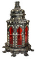 Metal and Bone Red Colored Glass Lantern LG053