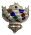 Metal Half Moon with Multiple Colored Glass Wall Sconce WL045