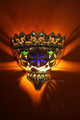 Metal Half Moon with Multiple Colored Glass Wall Sconce WL078