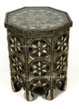 Metal and Bone Octagon Shaped Glass Top Side Table MB-ST002