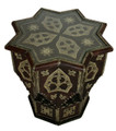 Metal and Leather Star Shaped Side Table with Glass Top MB-ST005