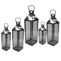 Silver Lantern with Clear Glass - LL076S