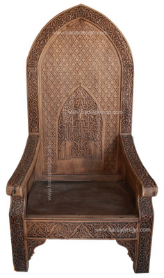 Hand Carved Wood Chair CW-CH004  sc 1 st  Badia Design & Moroccan Hand Carved Wood Chair