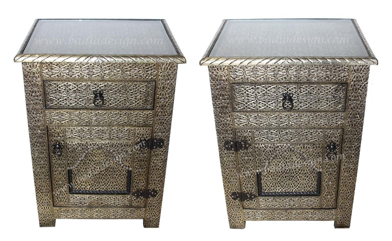 Moroccan Silver Nickel Cabinet With Glass Top From Moroccan