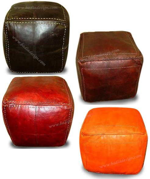 super popular 6cea6 acbe6 Moroccan Square Leather Ottoman - SLO101