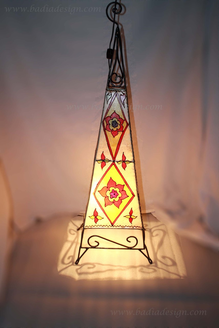 Moroccan Henna Lamp Made Of Stretched Leather From Badia Design Inc