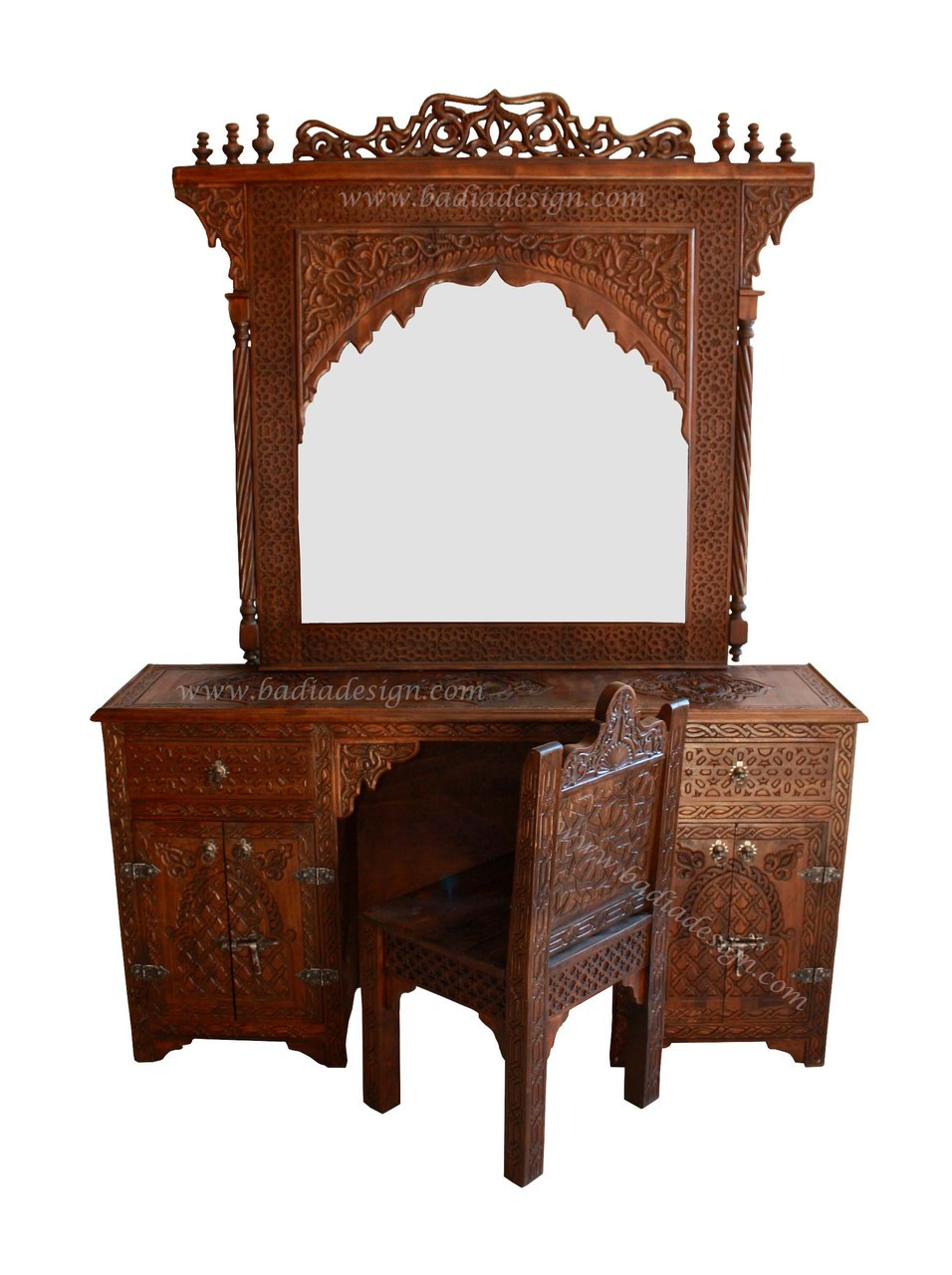 Hand Carved Wooden Makeup Vanity And Chair From Badia Design Inc