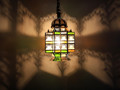 Hanging Brass Lantern with Multi Color Glass - LIG166