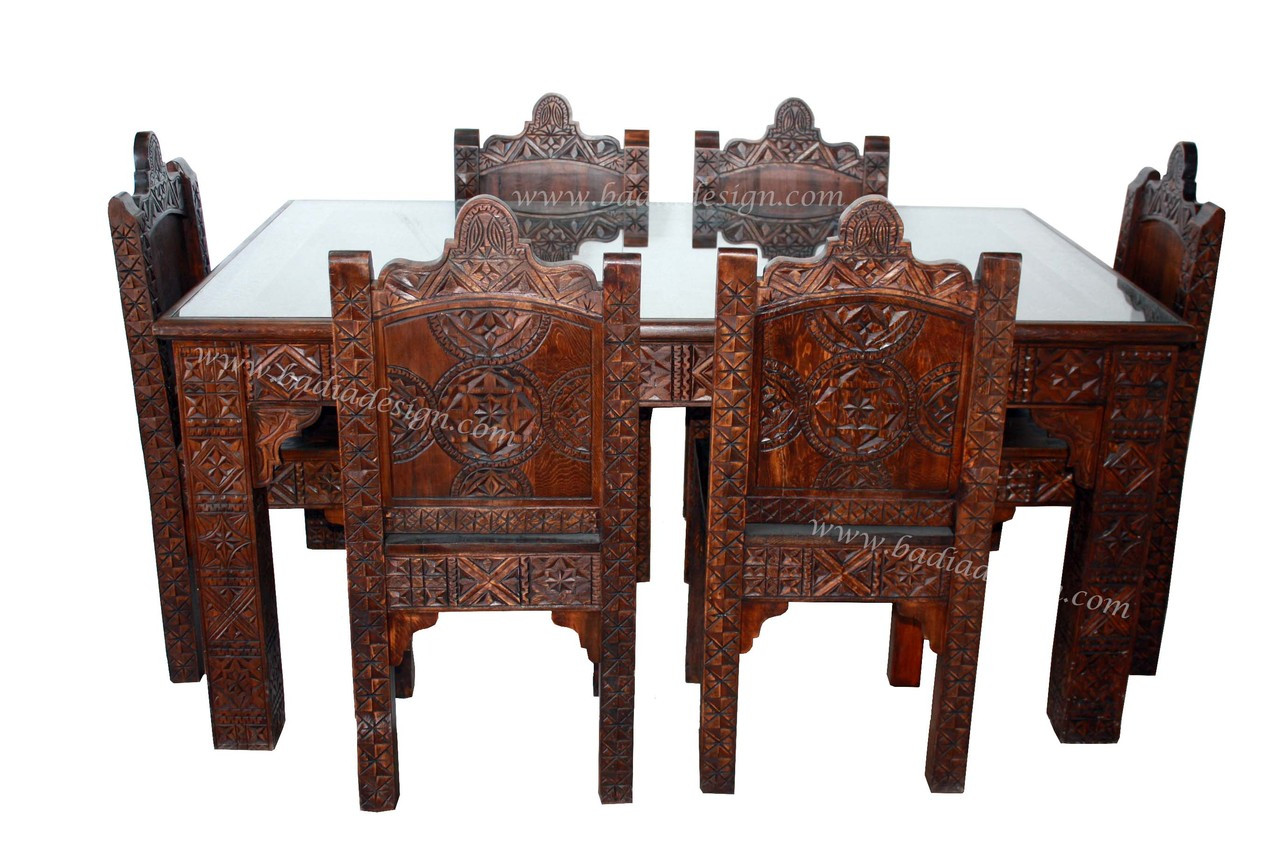 Moroccan Carved Wood Dining Room Table With 6 Chairs From