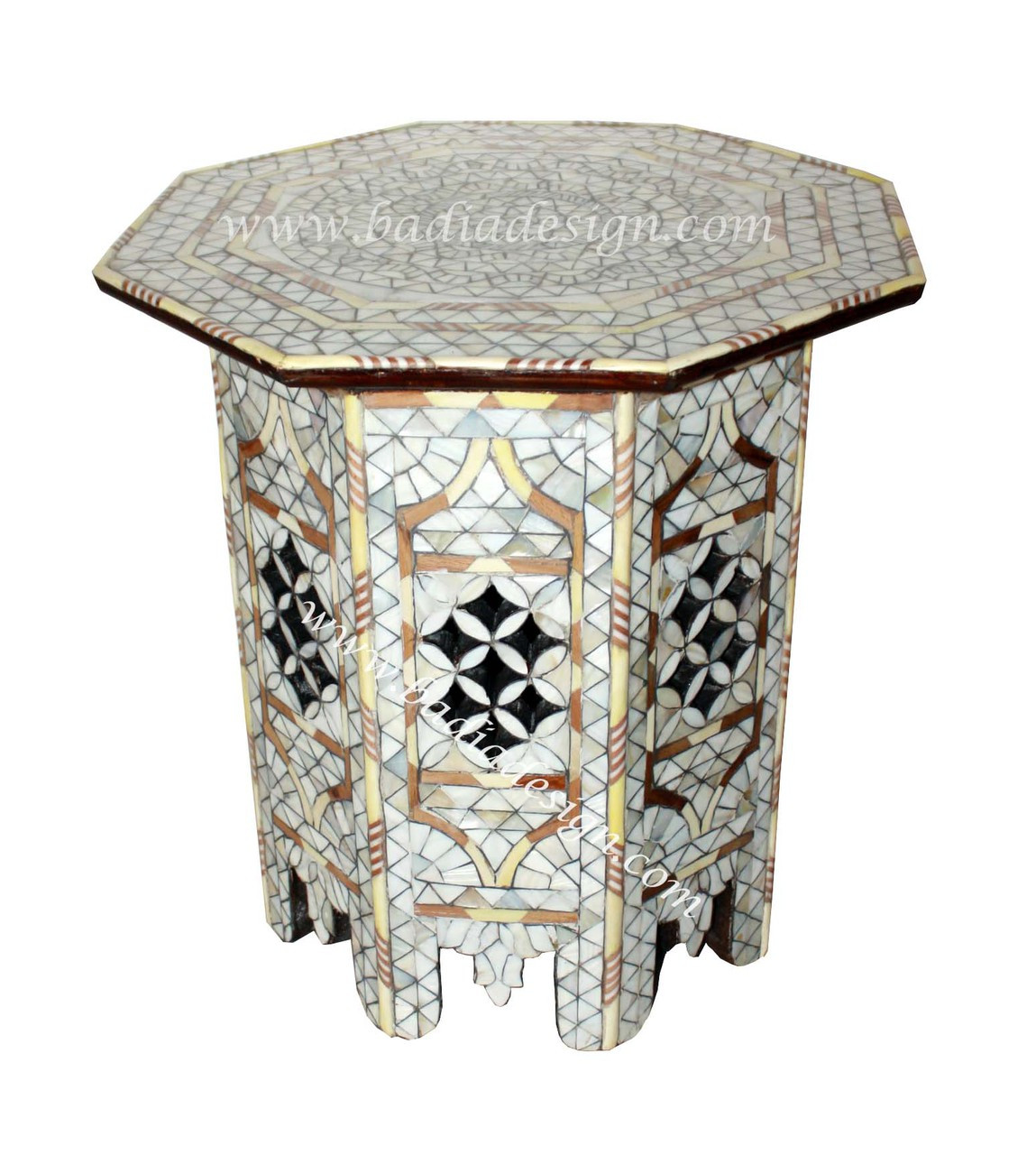 White Moroccan Mother Of Pearl Inlay Side Table From Badia Design Inc