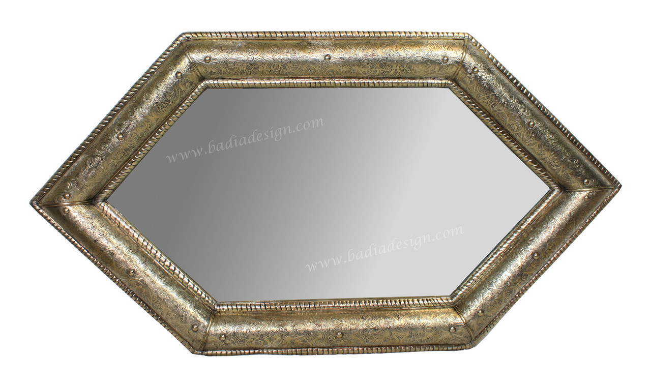 Moroccan Diamond Shaped Embossed Metal Mirror From Badia Design Inc