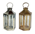 Silver and Brass Tabletop Lantern with Clear Glass - LIG173