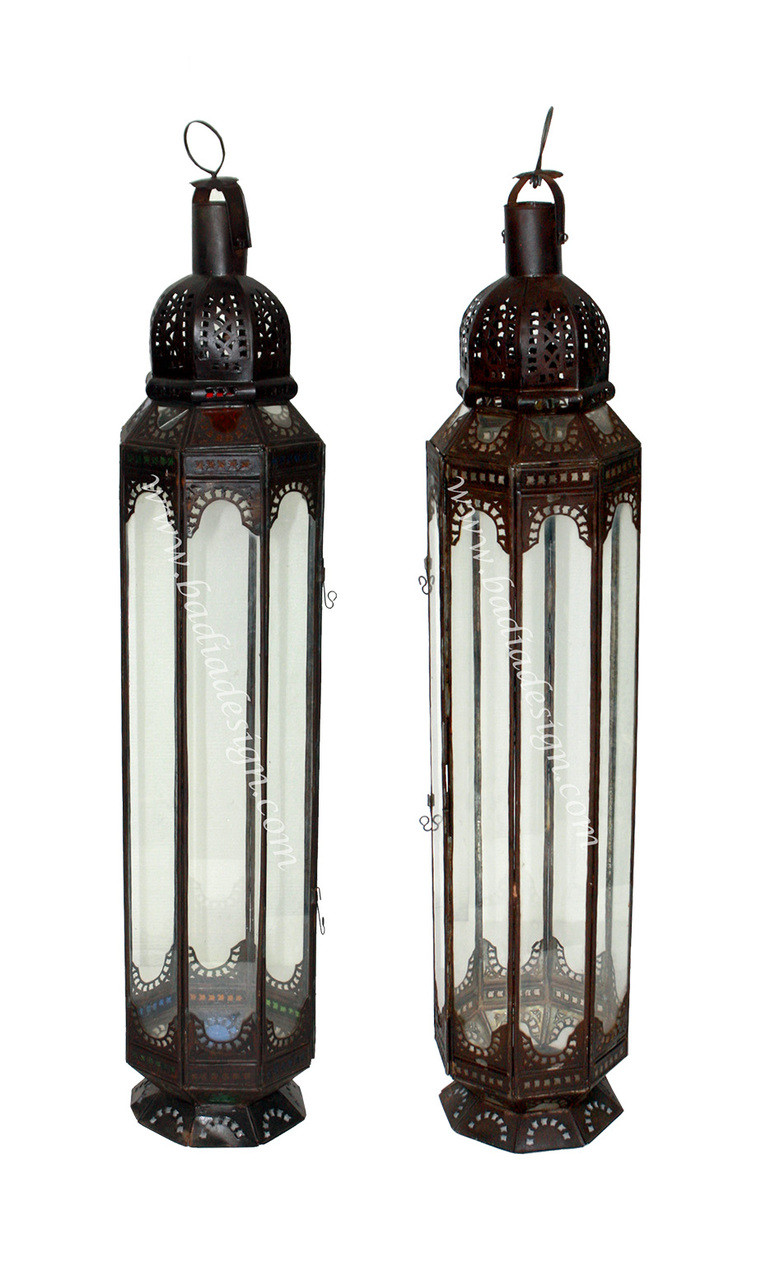 Tall Standing Moroccan Metal Lantern With Multi Color And Clear Glass From Badia Design Inc