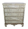 Mother of Pearl Dresser with White Marble Top - MOP-DR044